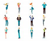stock photo of avatar  - Male and female people listening to the music and dancing avatar icons set isolated vector illustration - JPG