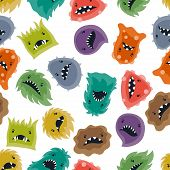 image of microbes  - Seamless pattern with little angry viruses - JPG