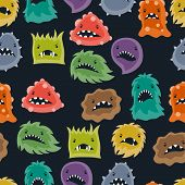 picture of microbes  - Seamless pattern with little angry viruses - JPG