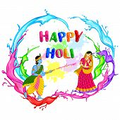 pic of radha  - vector illustration of Radha Krishna playing Holi - JPG