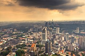 picture of klcc  - View of Kuala Lumpur from Menara KL observation deck - JPG