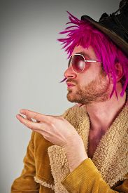 foto of bum  - Pink haired bearded cool bum lunatic man - JPG