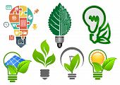 foto of solar battery  - Ecology light bulbs symbols with abstract lamps - JPG