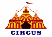 picture of circus tent  - Circus red and yellow striped tent in retro style - JPG