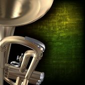 stock photo of trumpets  - abstract green grunge vintage music background with trumpet - JPG