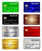 pic of debit card  - A collection of credit and debit cards over a white background - JPG