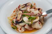 stock photo of squid  - spicy squid salad hot and sour thai food - JPG