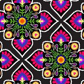 image of mexican  - seamless decorative pattern with floral folk elements - JPG
