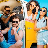 picture of recreational vehicles  - Three cheerful people sitting inside of their minivan while one woman leaning the vehicle door and smiling - JPG