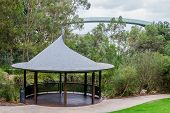 pic of observed  - Pavilion near a pond and an observation walking bridge in Kings Park and Botanical Gardens in Perth Western Australia - JPG