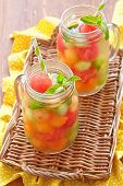 stock photo of cantaloupe  - Melon cocktail with watermelon - JPG
