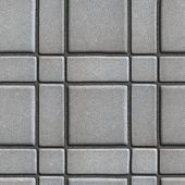stock photo of paving  - Large Quadratic Gray Pattern Paving Slabs Built of Small Squares and Rectangles - JPG