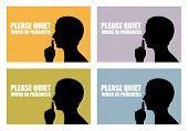 foto of shhh  - Quiet silhouette signs set - JPG