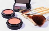 stock photo of cosmetic products  - Set of professional brushes for makeup and cosmetics for woman womanly cosmetics accessories - JPG