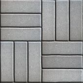 pic of paving  - Gray Paving Slabs of Rectangles Laid Out on Three Pieces Perpendicular to Each Other - JPG