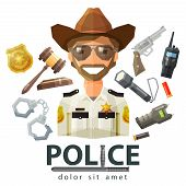 foto of trooper  - happy Texas police officer in uniform - JPG