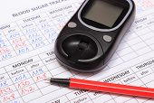 image of measurements  - Glucose meter and red pen lying on medical forms for measurement sugar in blood results of measurement of sugar concept for measuring sugar level - JPG