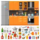 Постер, плакат: kitchen furniture set of elements utensils tools food kettle pot knife spices noodles cof