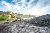 picture of mines  - Mining machines infrastructure and coal in mountainous mine - JPG