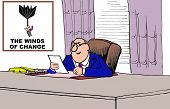 foto of windswept  - Business cartoon of businessman at his desk and wall art that conveys a windswept umbrella and the words - JPG