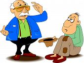 picture of beggar  - beggar in holey pants requests coin vector - JPG