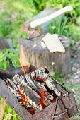 stock photo of brazier  - firewood burning in outdoor brazier with ax in stump on background - JPG