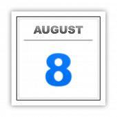 stock photo of august calendar  - August 8 - JPG