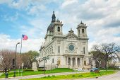 stock photo of mary  - Basilica of Saint Mary in Minneapolis MN on a cloudy day - JPG