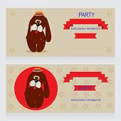 picture of ladybug  - Party Design template with dog and ladybug vector illustration - JPG