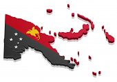 image of guinea  - detailed illustration of a map of Papua New Guinea with flag - JPG