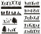 Happy Family . Conceptual background. Set of Mens, Womens and Children Silhouettes.  Active People poster