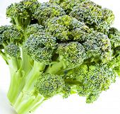 stock photo of gai  - Broccoli close up on a white background - JPG