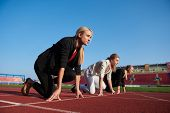 image of race track  - business people running together on racing track - JPG