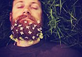 picture of tall grass  - a sleeping hipster lying in tall grass with lilacs in his epic beard taking a nap toned with a retro vintage instagram filter and light leaks  - JPG