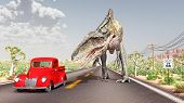 foto of dinosaur  - Computer generated 3D illustration with a red car and the dinosaur Acrocanthosaurus on the Route 66 in the USA - JPG