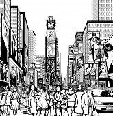 stock photo of interpreter  - Interpretation of Times Square in New York in black and white - JPG