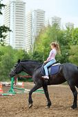 picture of horse girl  - Young girl riding a horse in park near the apartment complex - JPG