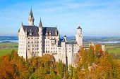 foto of bavarian alps  - Neuschwanstein castle in Bavarian alps - JPG