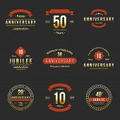pic of ten years old  - Vector set of anniversary signs - JPG