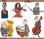 Постер, плакат: Musicians Characters Set Cartoon