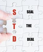 pic of std  - Hand of a business man completing the puzzle with the last missing piece - JPG