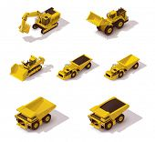 stock photo of mines  - Set of the isometric icons representing mining machinery - JPG