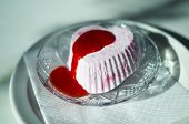 picture of ice crystal  - A strawberry iced yoghurt dessert with strawberry sauce sitting on a crystal plate - JPG