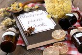 pic of roughage  - Medicinal plants book with dried herbs and bottles on table close up - JPG