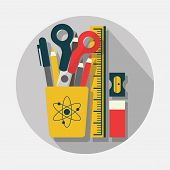 pic of scissors  - Pencil case pencils scissors ruler sharpener and eraser icons with long shadow on gray background  - JPG