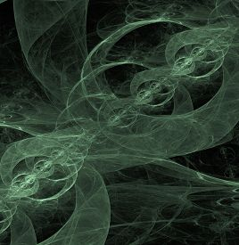 picture of cosmic  - green abstract vector fractal cosmic spiral and lines - JPG