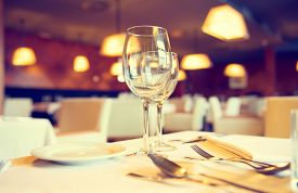 foto of banquet  - Served dinner table in a restaurant - JPG