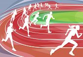 stock photo of track field  - Illustration background of runners sprinting in a race around the track - JPG