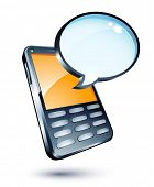 picture of mobile-phone  - mobile phone and speech bubble - JPG