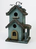 Weathered Green Birdhouse poster